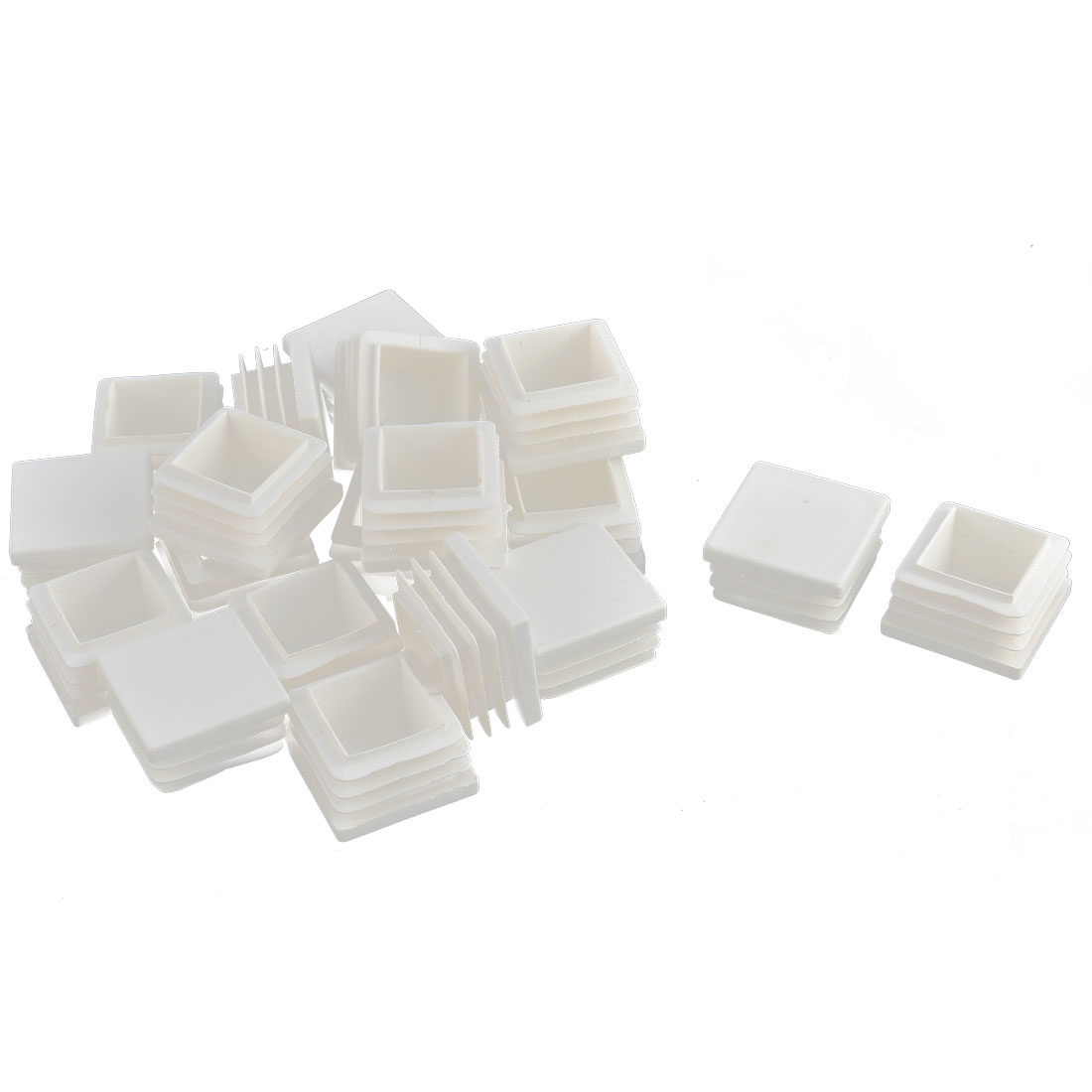 Furniture Table Chair Legs Plastic Square Tube Insert Cap Cover Protector White 30 x 30mm 20pcs