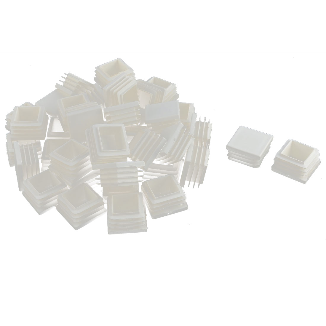 Furniture Table Chair Legs Plastic Square Tube Insert Cap Cover Protector White 30 x 30mm 40pcs