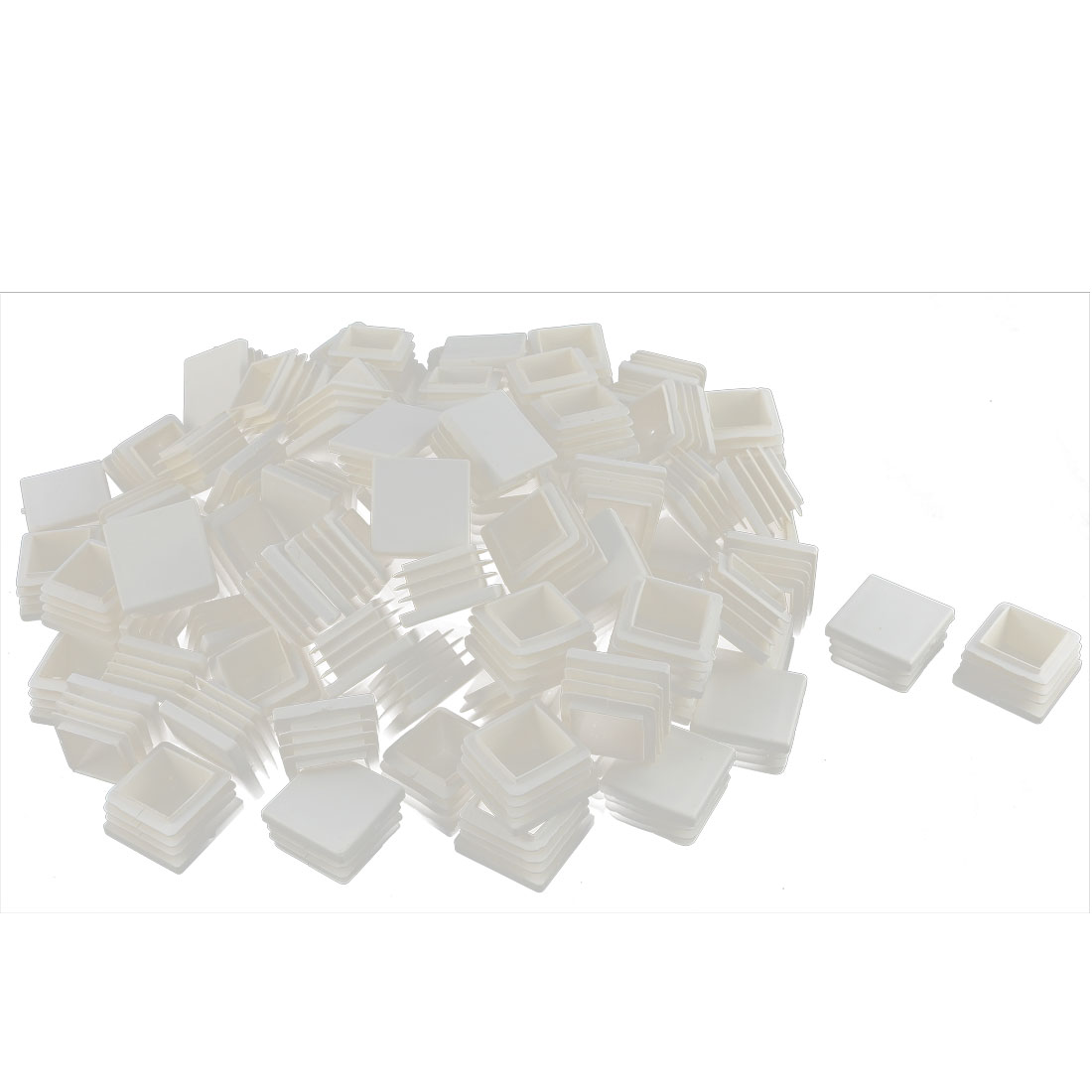 Furniture Table Chair Legs Plastic Square Tube Insert Cap Cover Protector White 25 x 25mm 100pcs