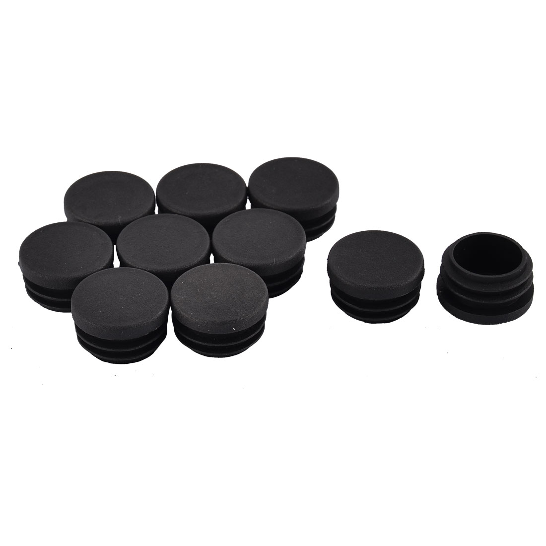 Table Chair Legs Plastic Round Tube Insert Cap Cover Protector Black 30mm Dia 10pcs