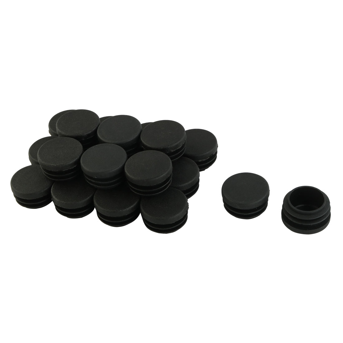 Table Chair Legs Plastic Round Tube Insert Cover Protector Black 30mm Dia 20pcs