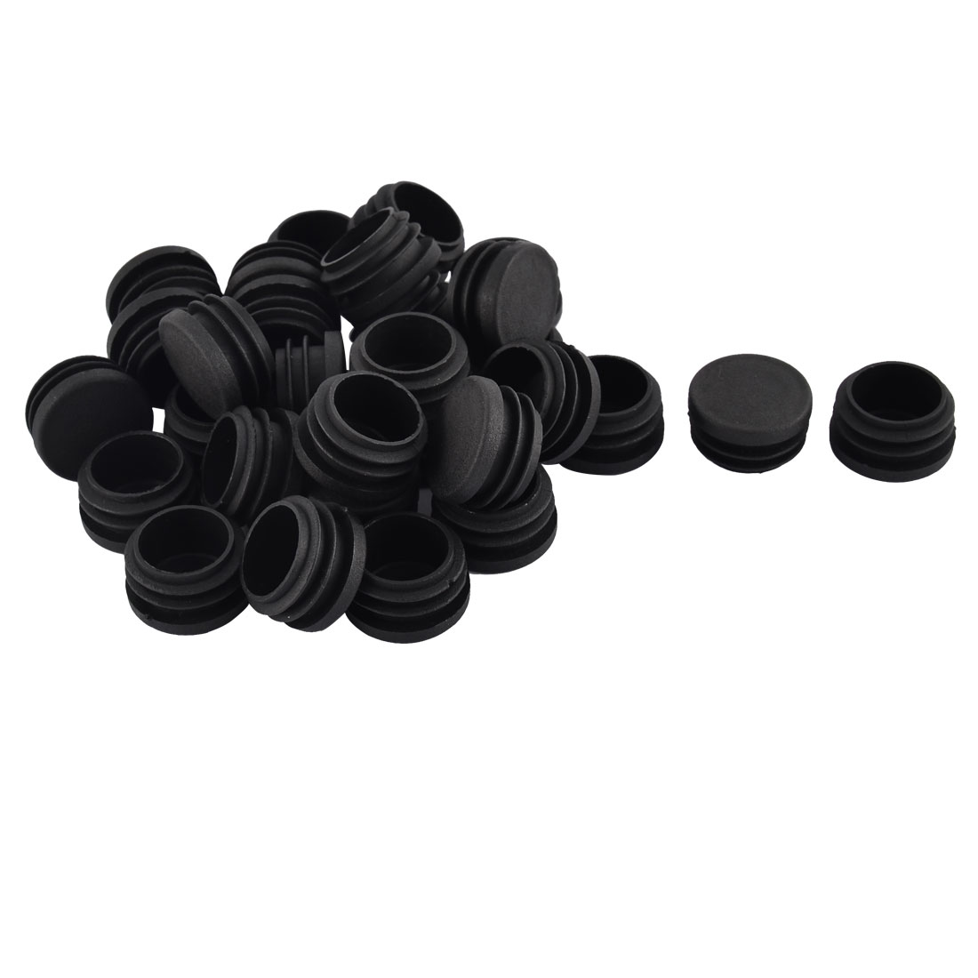 Table Chair Legs Plastic Round Tube Insert Cover Protector Black 30mm Dia 30pcs