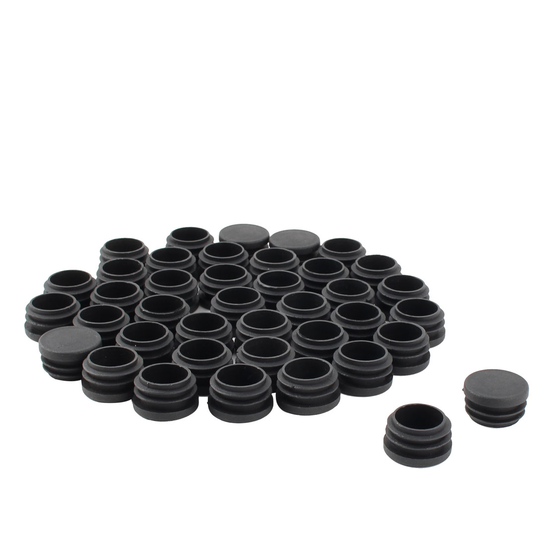 Table Chair Legs Plastic Round Tube Insert Cap Cover Black 30mm Dia 40pcs