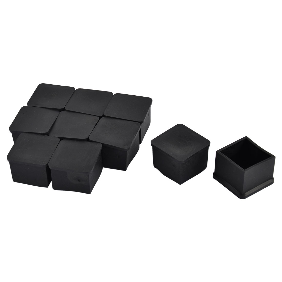 Furniture Chair Table Legs PVC Flat Base Square Tube Pipe Inserts Caps Protector Black 40mm x 40mm 10pcs