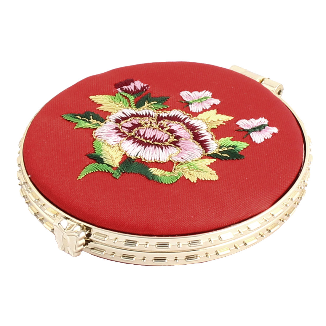 Household Woman Round Shaped Folding Double Side Embroidery Cosmetic Mirror Red