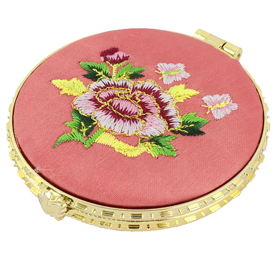 Household Woman Round Shaped Folding Double Side Embroidery Cosmetic Mirror Pink