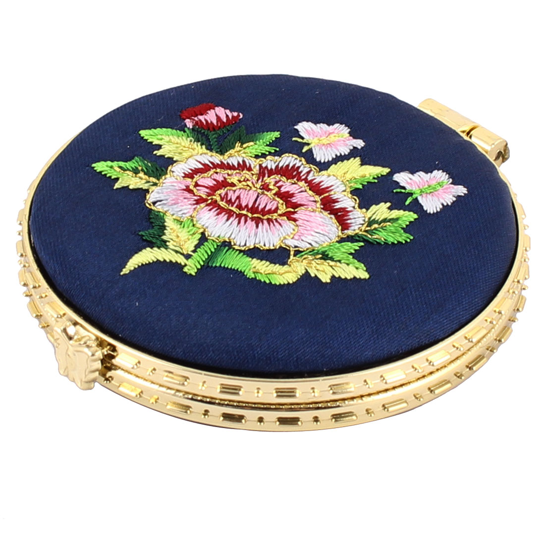 Household Woman Round Shaped Folding Double Side Embroidery Cosmetic Mirror Dark Blue