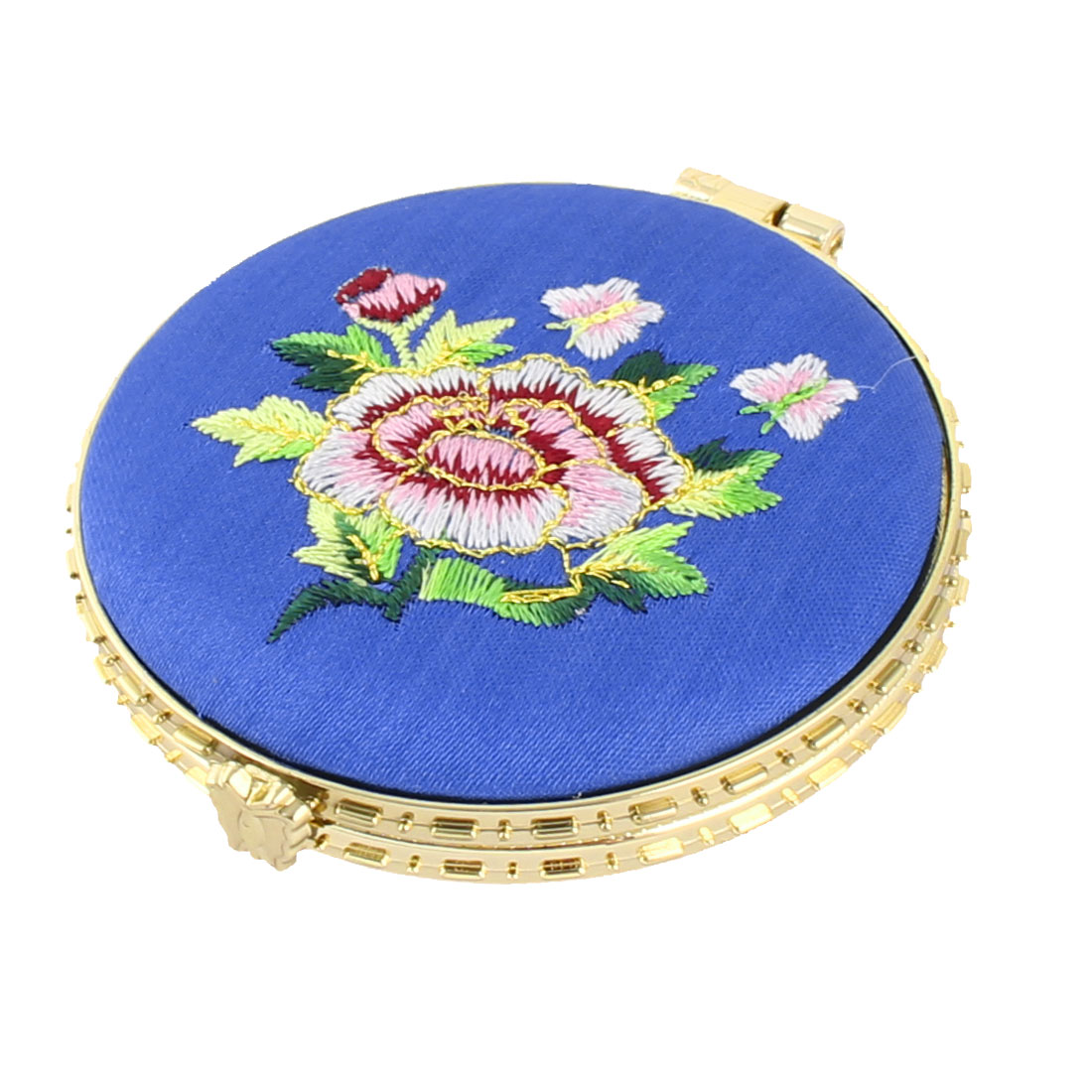 Household Woman Round Shaped Folding Double Side Embroidery Cosmetic Mirror Blue