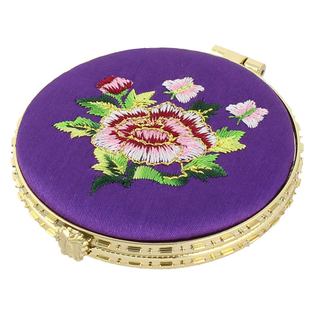 Household Woman Round Shaped Folding Double Side Embroidery Cosmetic Mirror Purple