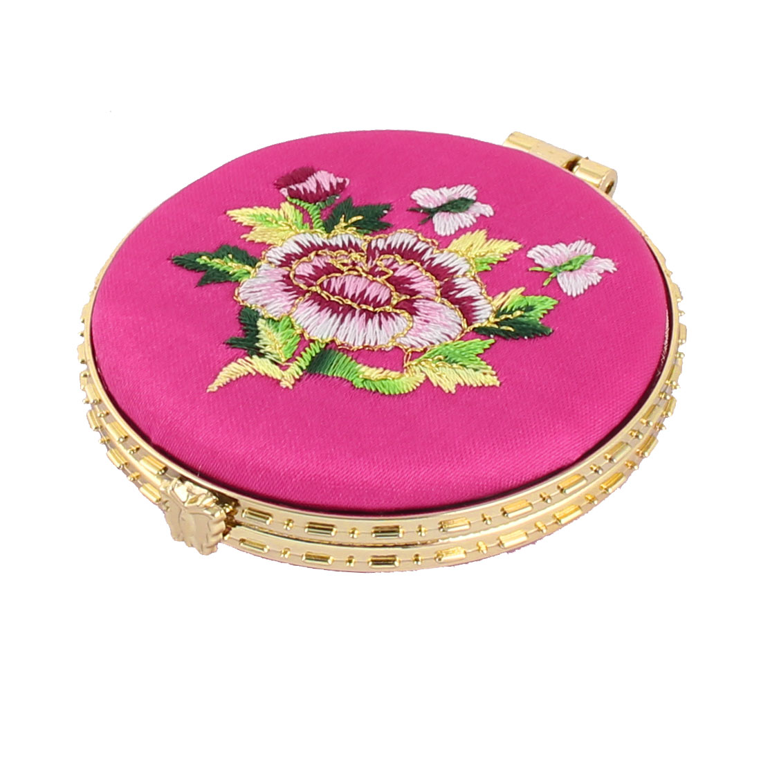 Household Woman Round Shaped Folding Double Side Embroidery Cosmetic Mirror Fuchsia