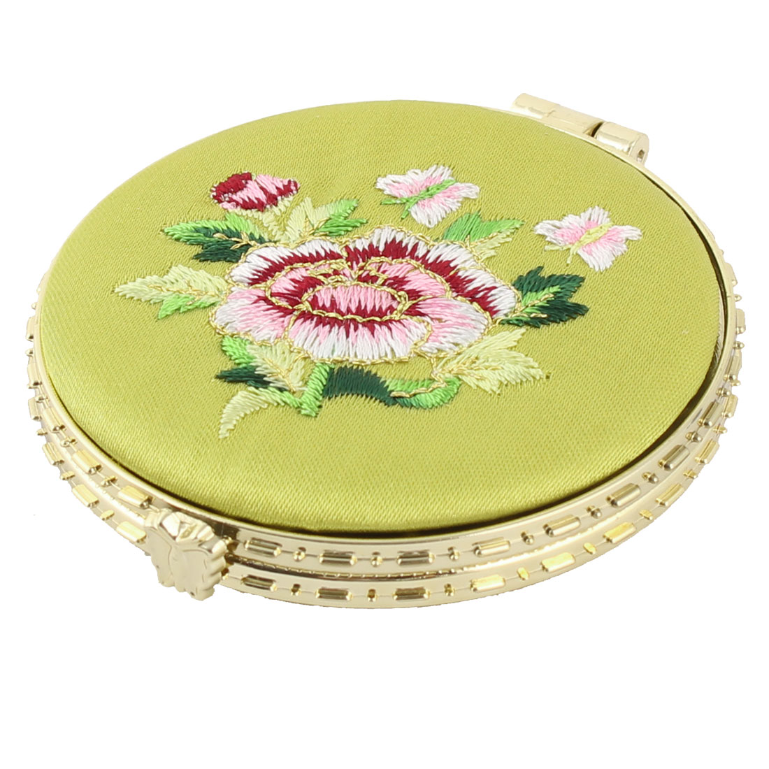 Household Woman Round Shaped Folding Double Side Embroidery Cosmetic Mirror Fluorescent Green