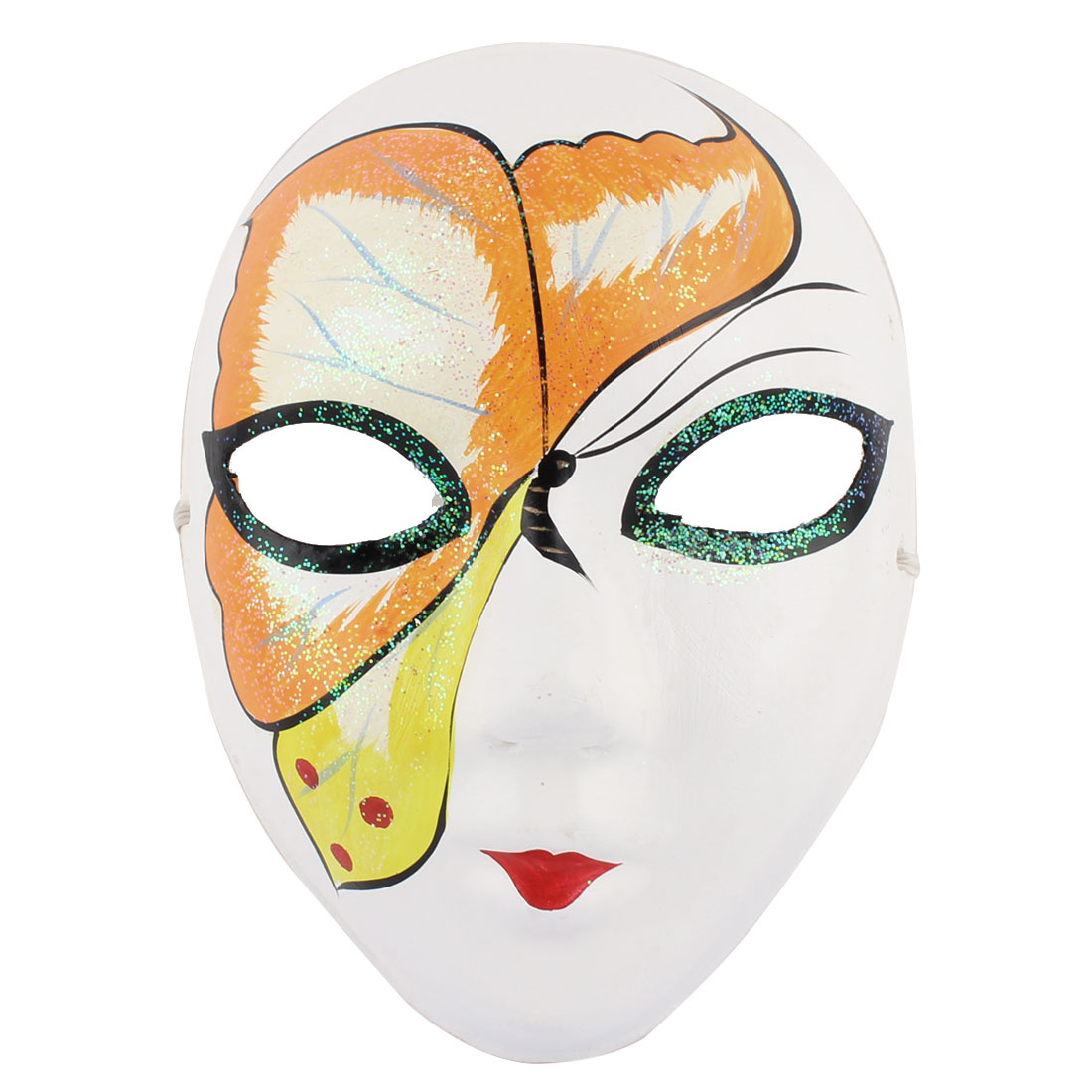 Woman Gypsum Hand Paint Beijing Peking Opera Facial Costume Makeup Mask Orange