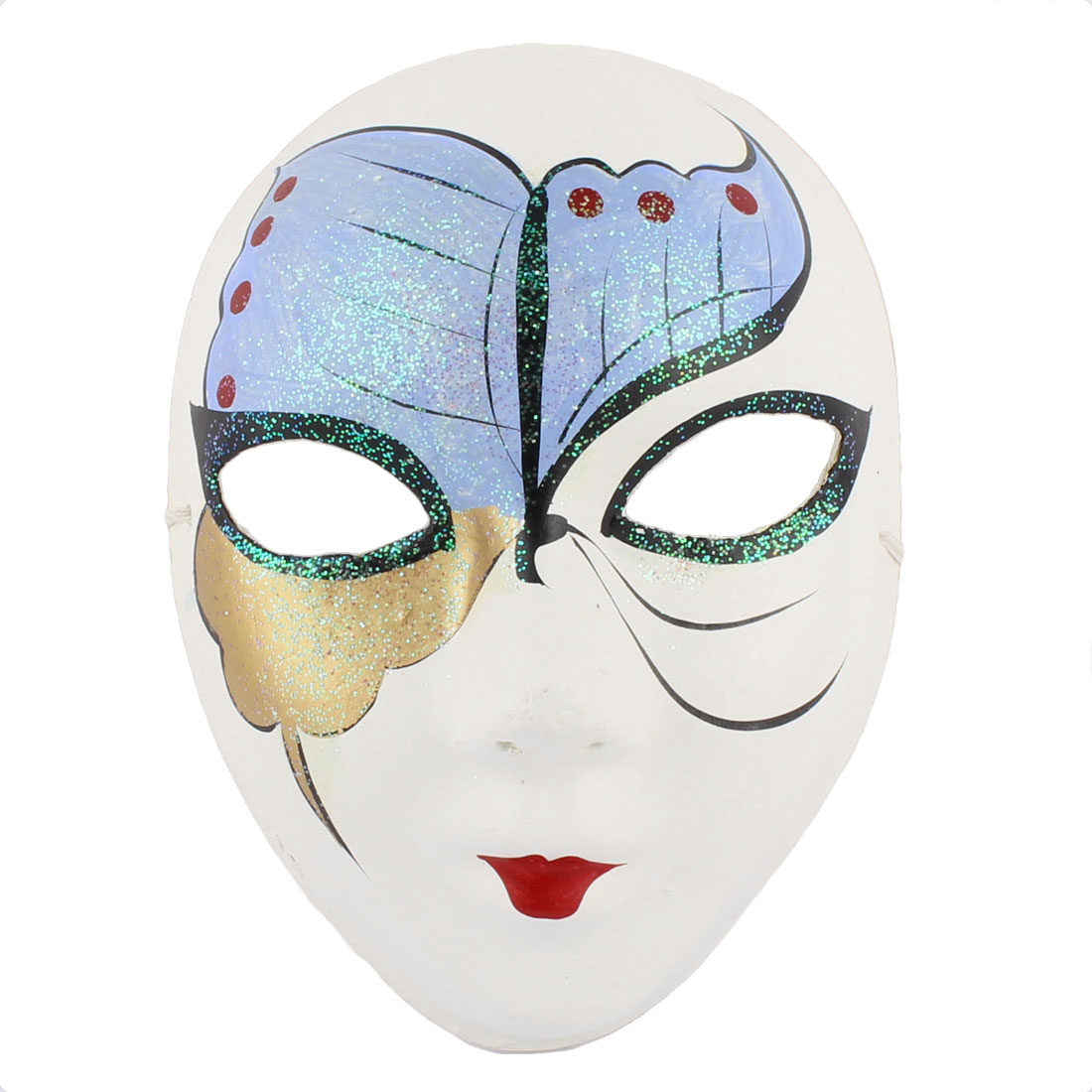 Woman Gypsum Hand Paint Beijing Peking Opera Facial Fashion Costume Makeup Mask Blue