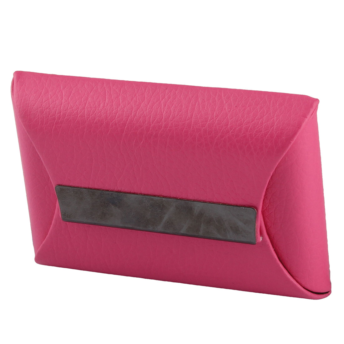 Business Cards Faux Leather Cover Rectangle Shaped Card Holder Fuchsia