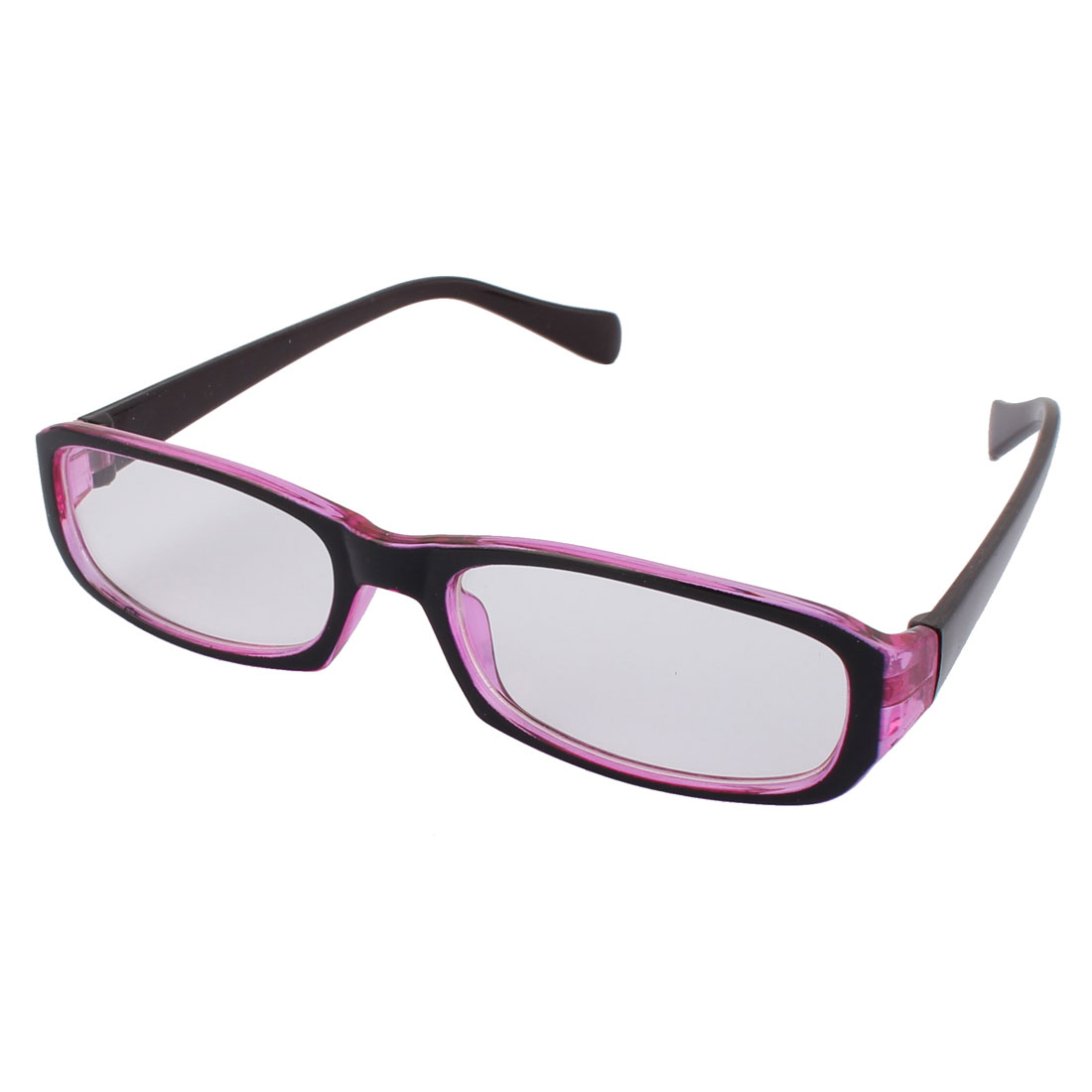 Students Optical Round Transparent Lens Purple Black Frame Plastic Eyewear Glass