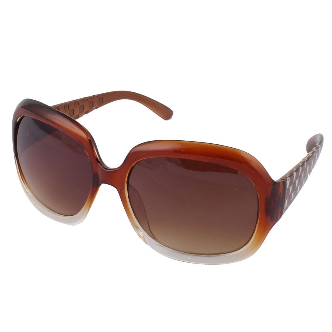 Ladies Fashion Crystal Oval Lens Full Frame Sunglass Light Brown