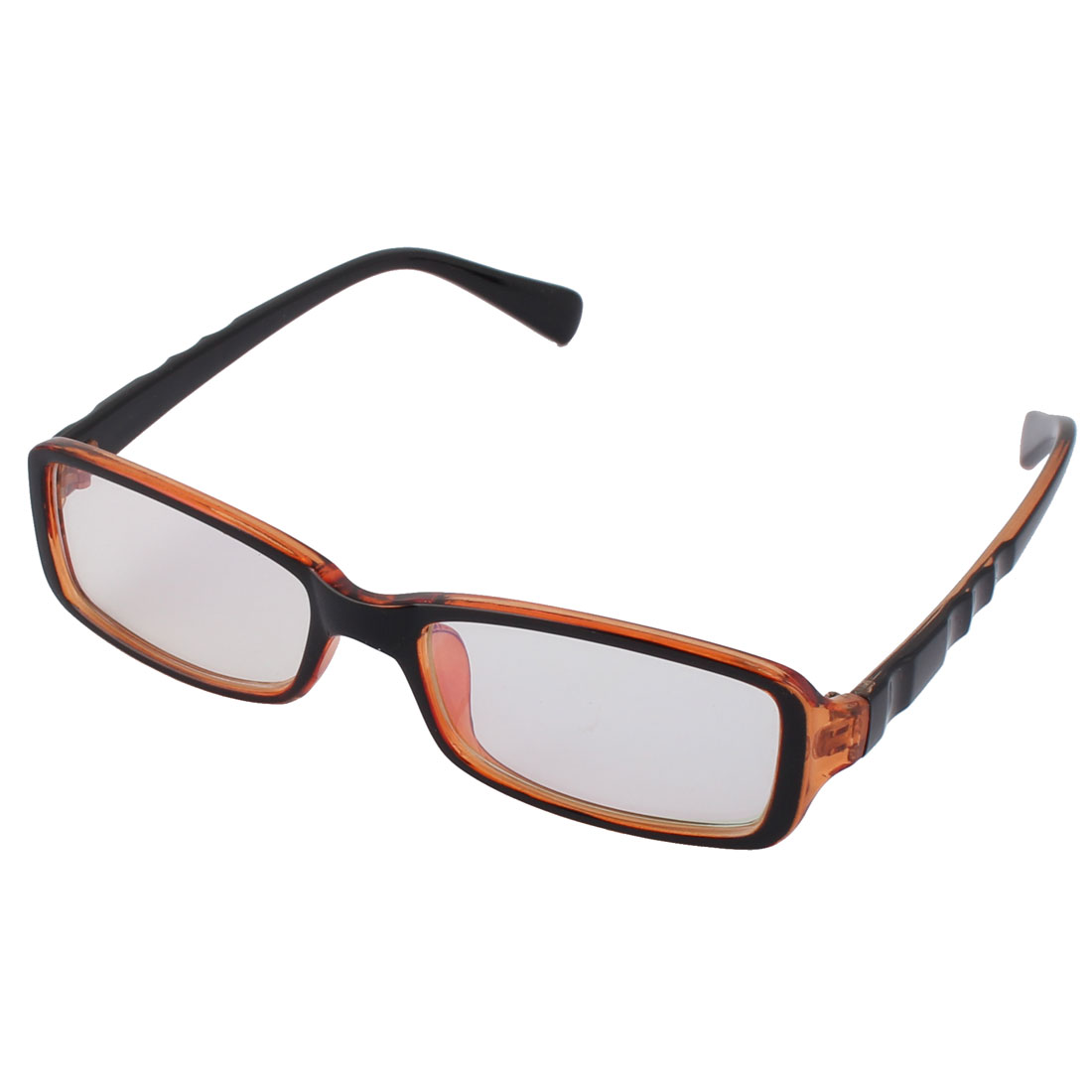 Women Men Plastic Brown Black Frame Clear Square Lens Eyewear Glass