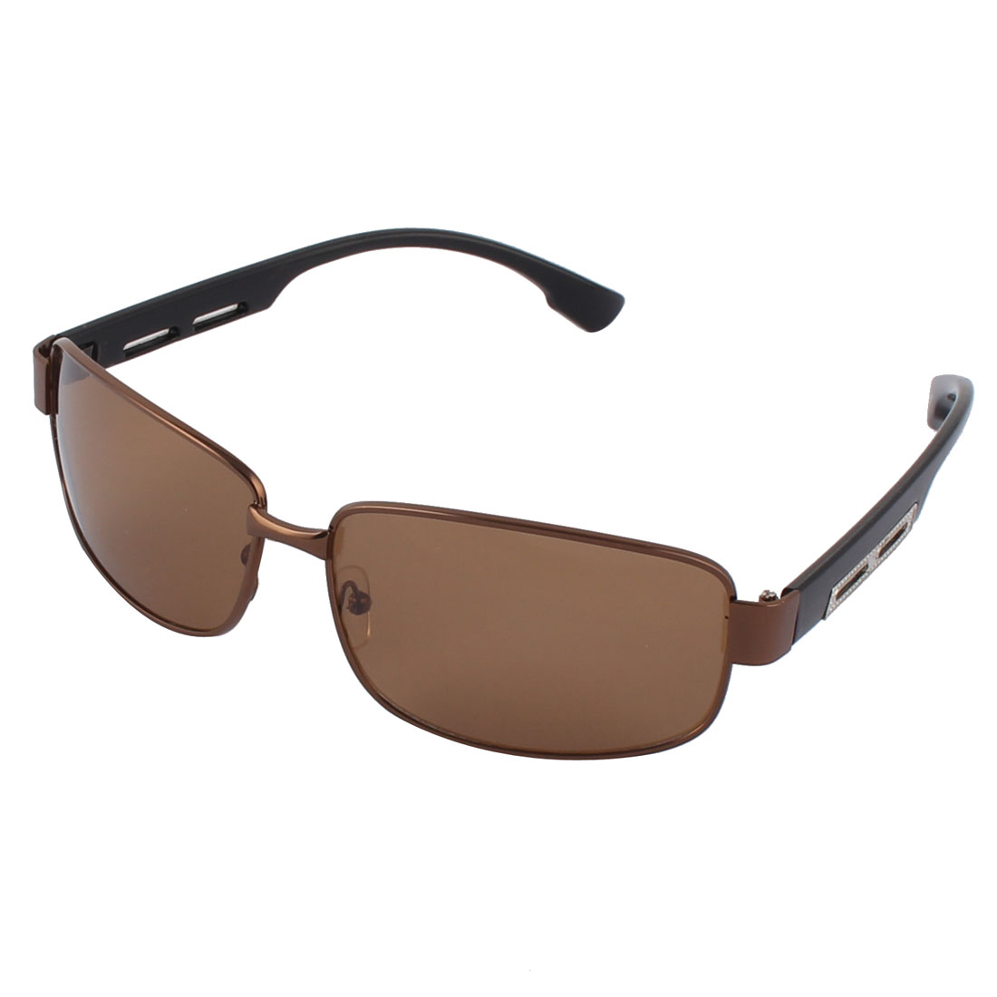 Men Driving Squre Brown Lens Full Frame Black Arms Polarized Sunglasses