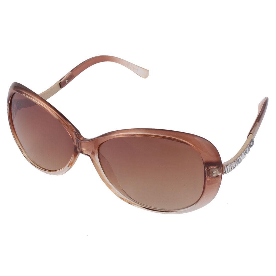 Ladies Women Artificial Rhinestone Studded Full Rim Sunglasses Light Brown