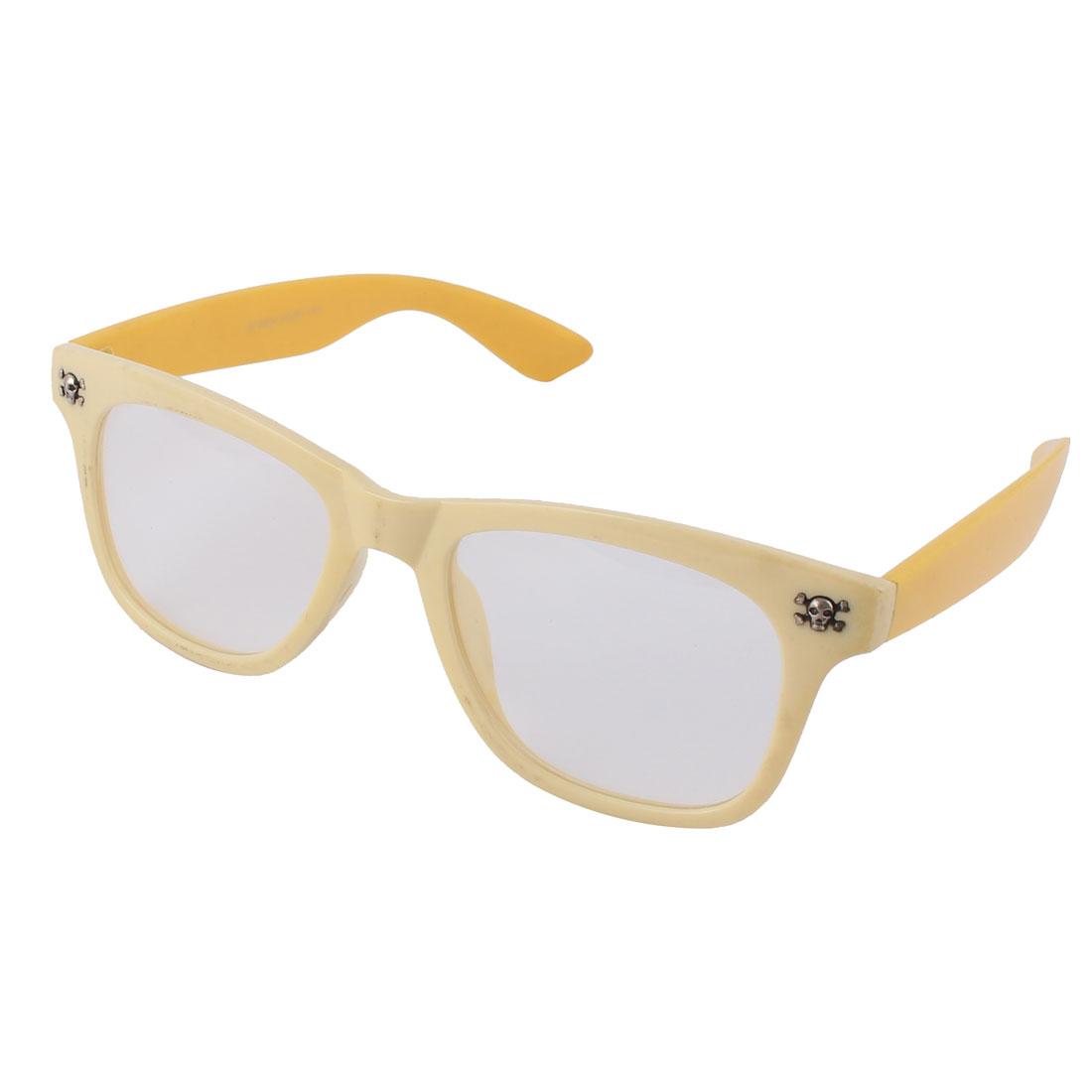 Plastic Skull Decor Clear Lens Yellow Full Frame Eyewear Plain Glasses