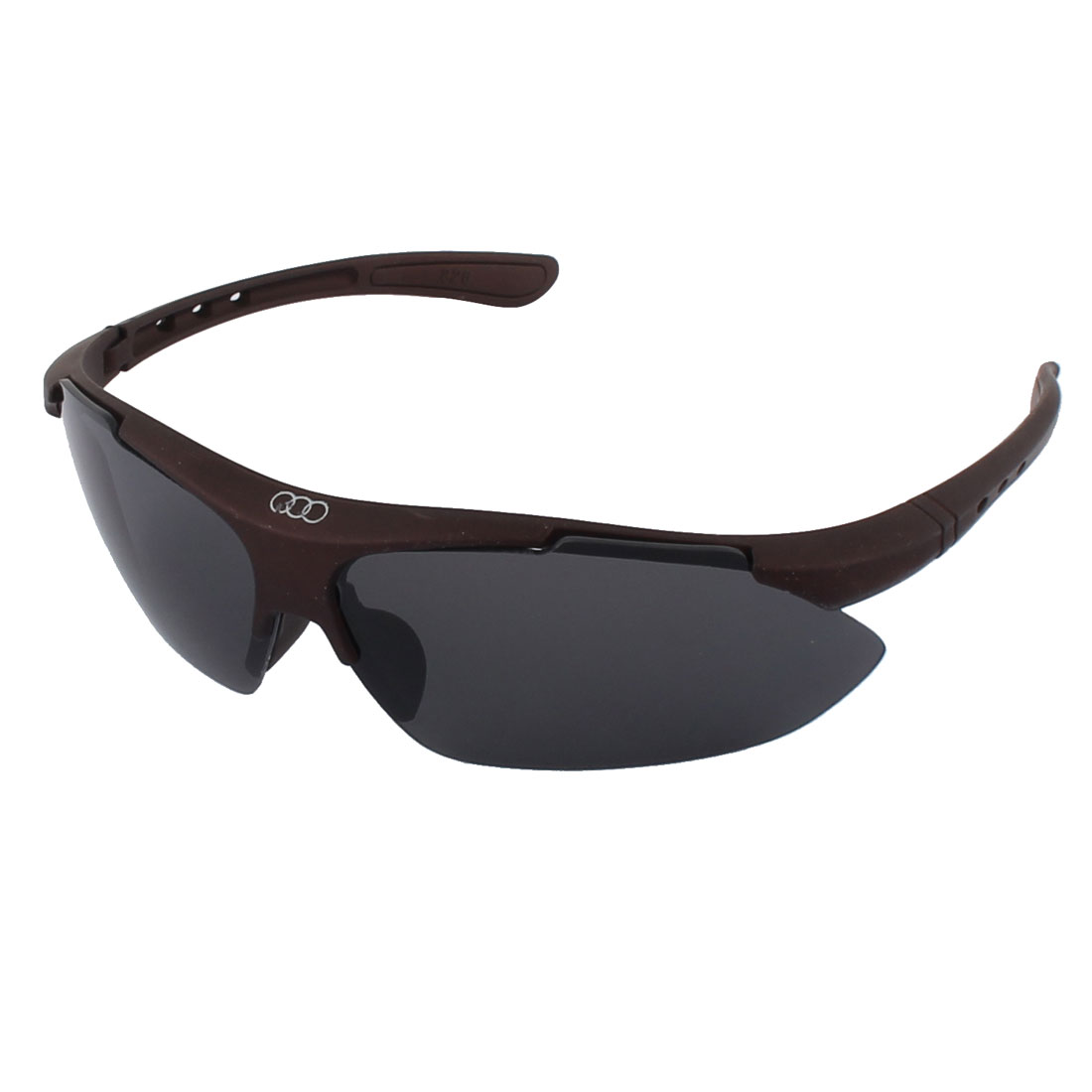 Stylish Gentlemen Plastic Squre Half Rimless Black Lens Sunglasses Brown