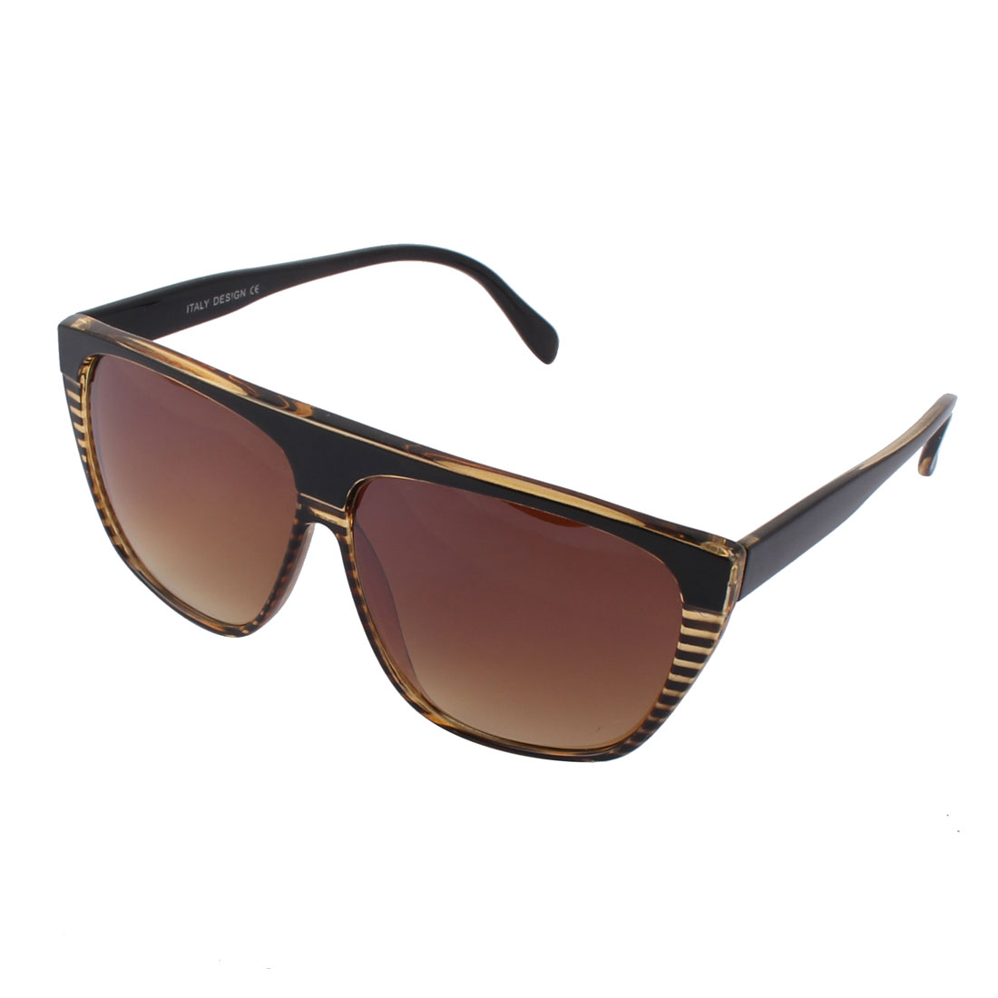Gentlemen Outdoors Plastic Brown Lens Black Frame Leopard Pattern Sunglass