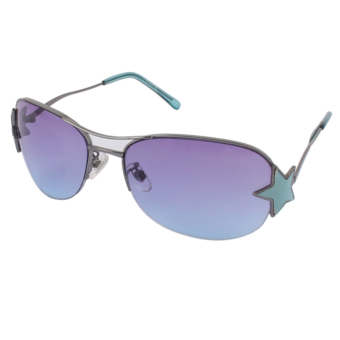 Women Alloy Oversize Star Decoration Purple Lens Half Rimless Sunglass