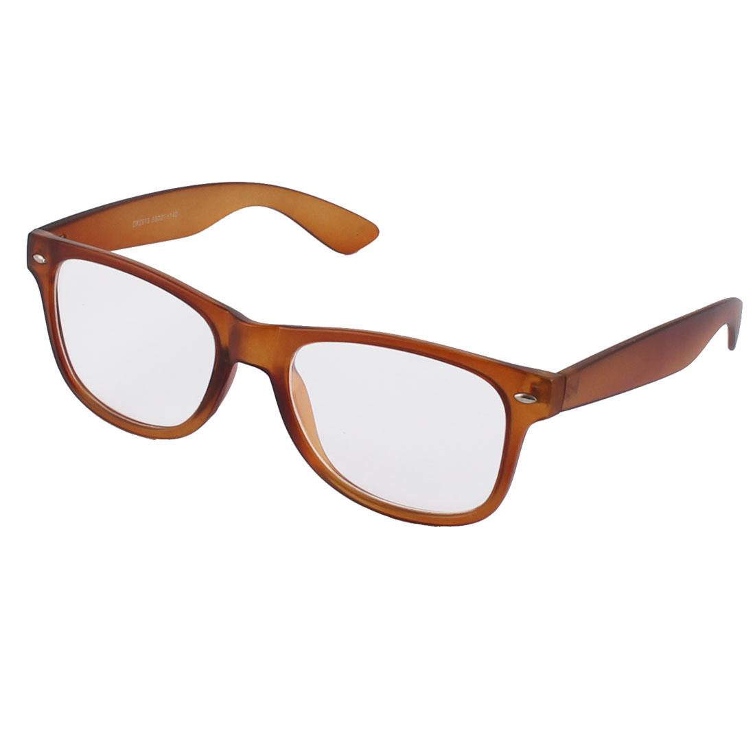 Classic Gentlemen Women Plastic Clear Lens Oval Full Rim Sunglass Brown
