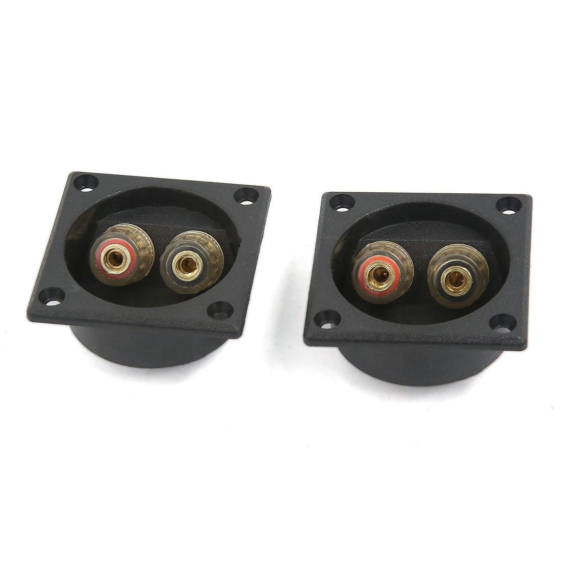 2pcs Black Speaker Box Push Spring Type Binding Post Terminal Connector