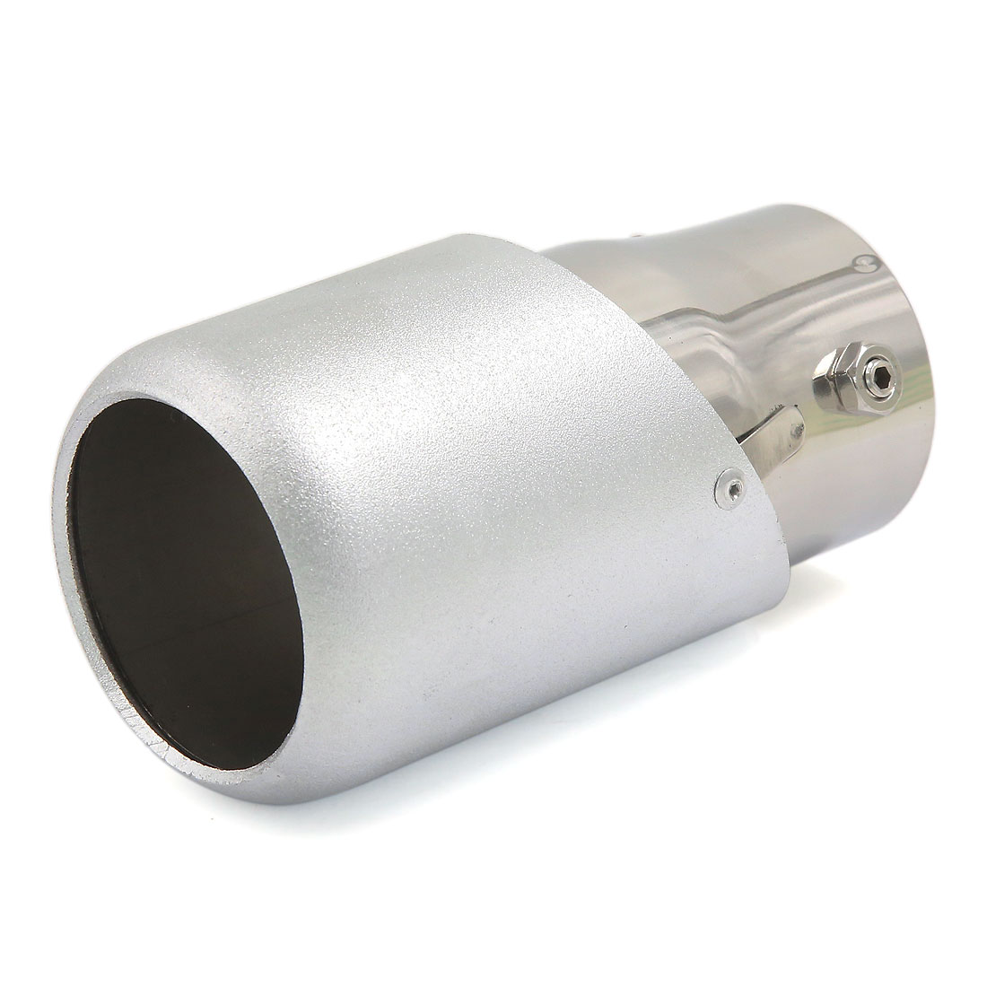 Silver Tone Dull Polish 65mm Inlet Straight Car Exhaust Pipe Muffler Tip For Audi Q5