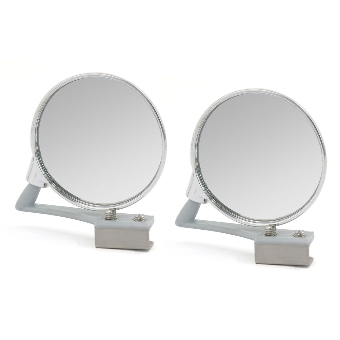 2pcs Silver Tone Adjustable 360 Degree Auto Wide Angle Curved Rear View Mirror