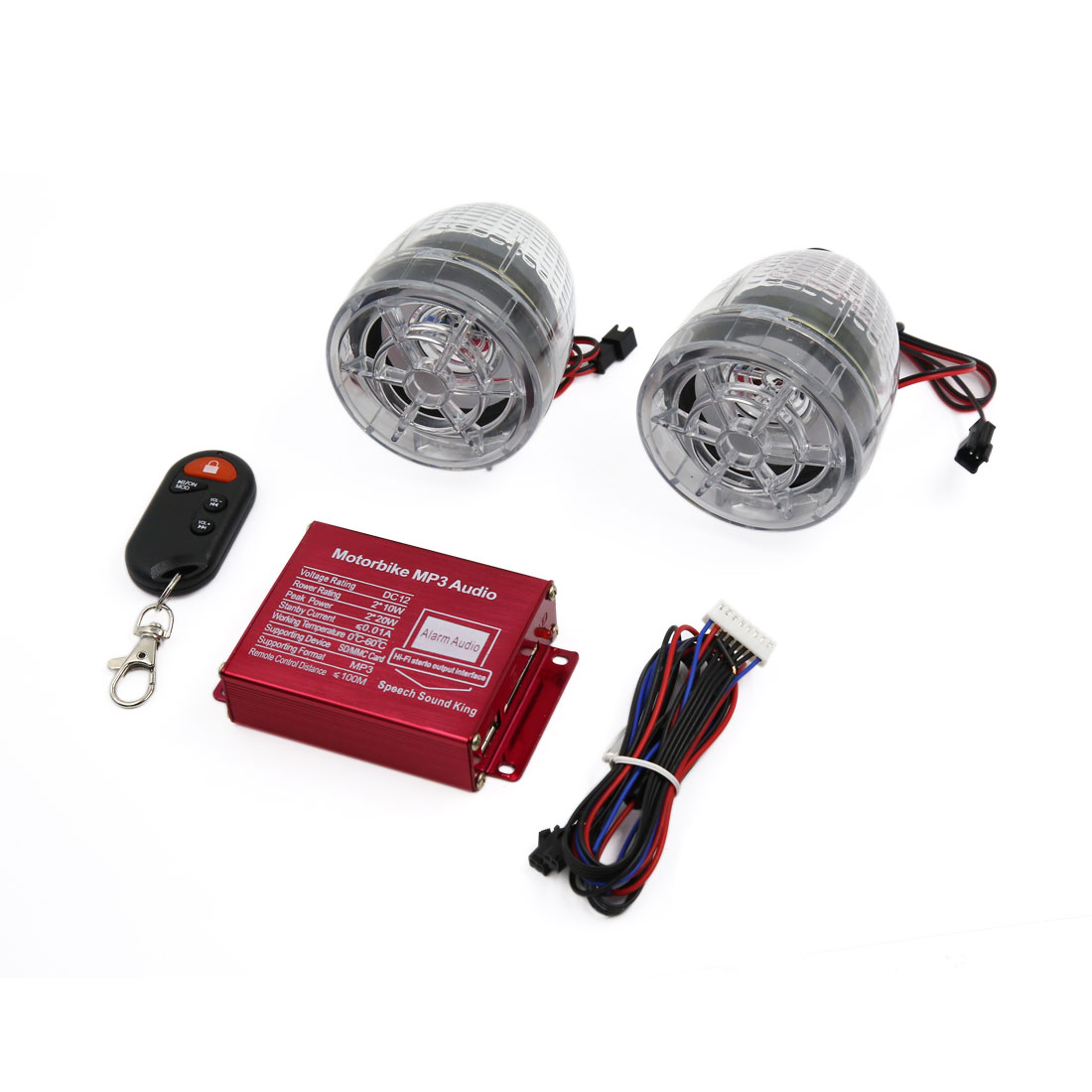 2Pcs MP3 Amplifier Speaker Audio Stereo FM Radio for Motorcycle Motorbike