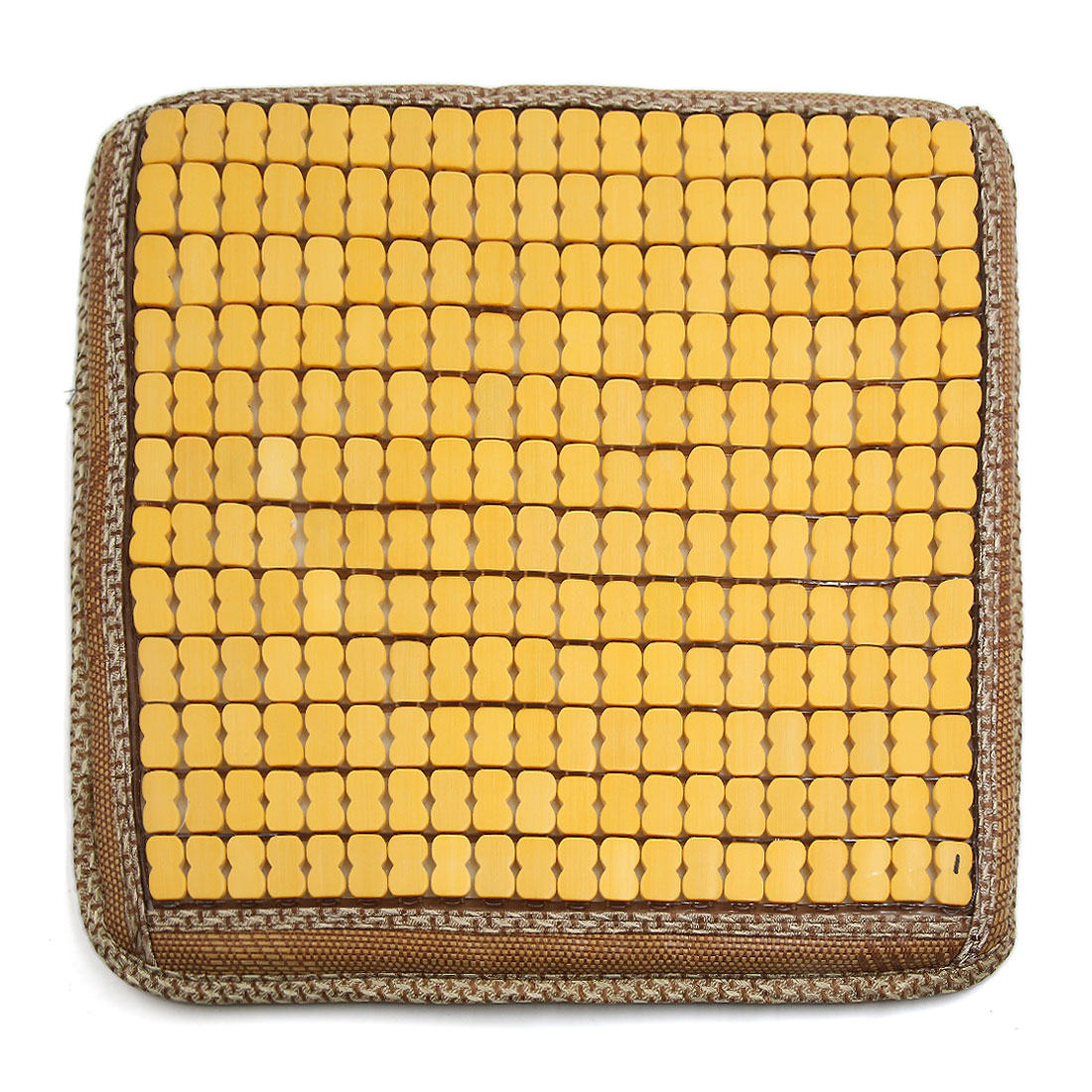 Summer Bamboo Wooden Sponge Comfort Seat Cushion Breathable Cover Mat Beige Yellow