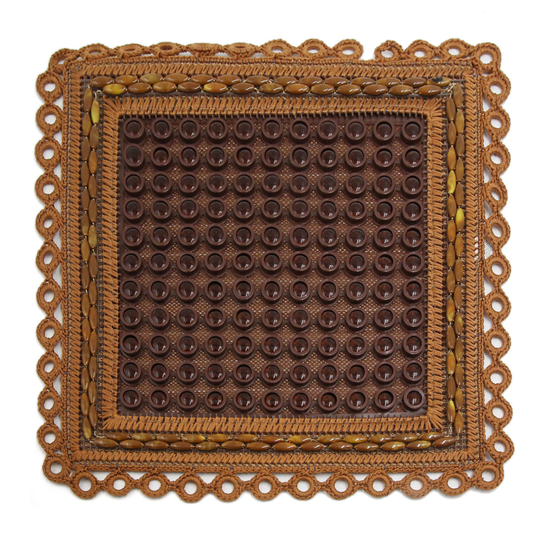 45 x 45cm Brown Sqaure Shape Multi Plastic Beads Seat Cushion Pad for Auto Car