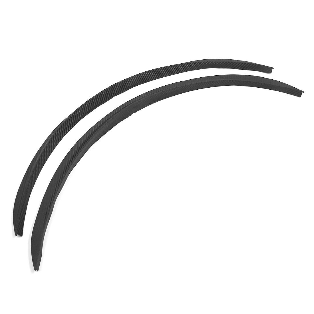 2PCS Car Black Carbon Fiber Printed Plastic Wheel Trim Strip 60cm Long
