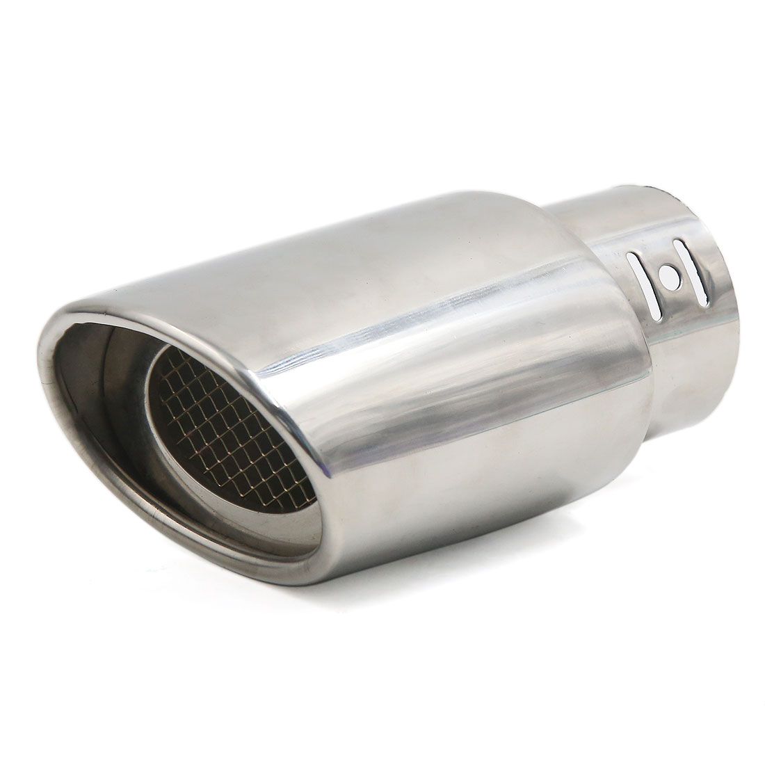 Silver Tone Stainless Steel 61mm Inlet Car Exhaust Pipe Silencer Muffler Tail Pipe