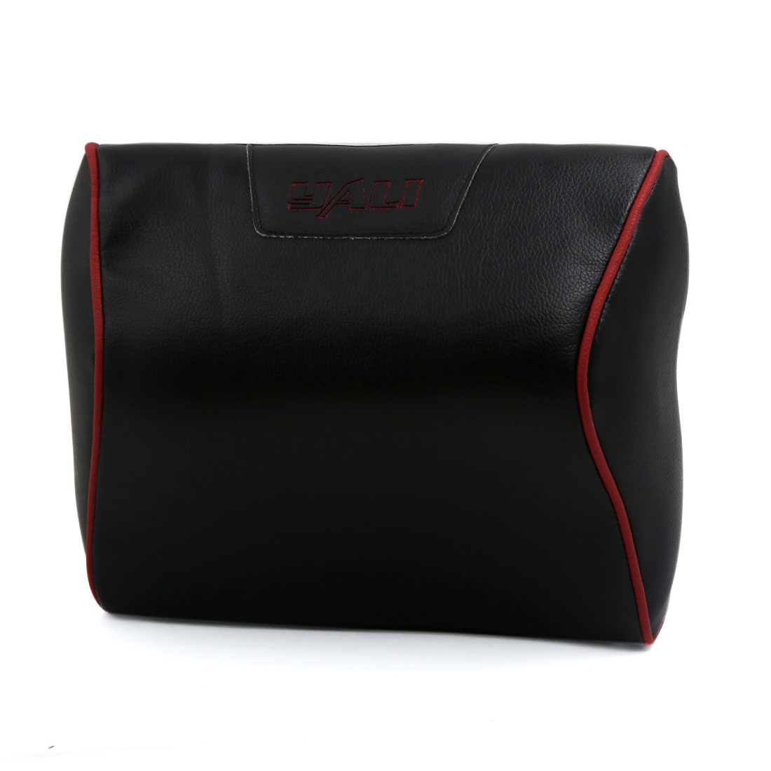 Convex Shaped Faux Leather Elastic Band Pillow Neck Rest Support Cushion Black for Car