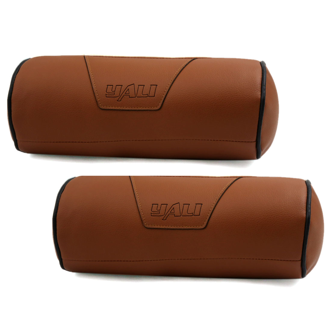 Cylinder Design Zipper Closure Faux Leather Elastic Band Pillow Neck Rest Support Cushion Brown for Car