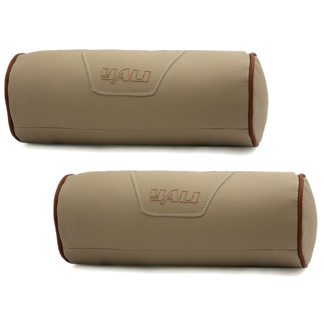 Cylinder Design Zipper Closure Faux Leather Elastic Band Pillow Neck Rest Support Cushion Beige for Car