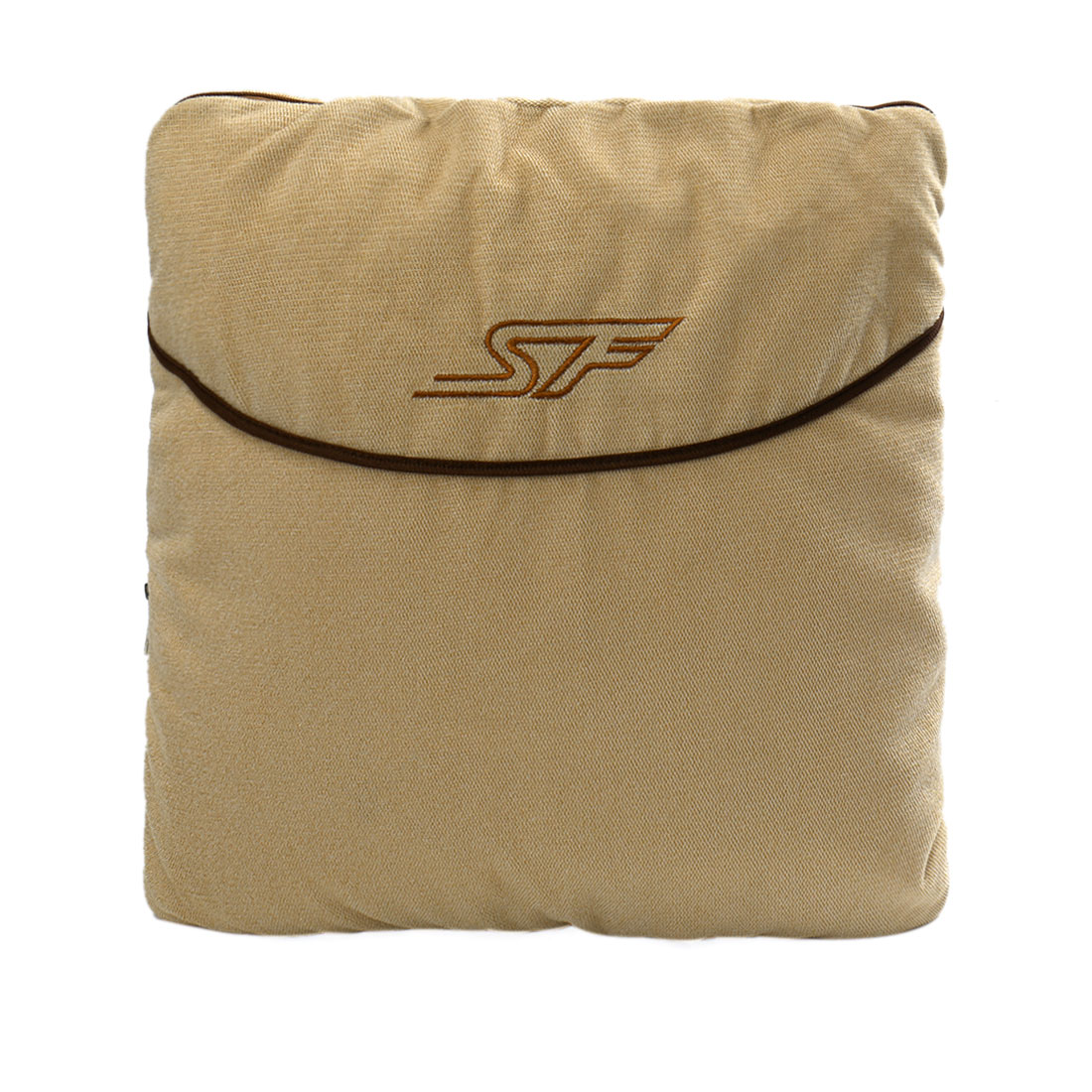 Automobile Car SF Pattern Interior Khaki Soft Fleece Zipper Closure Warmer Blanket 150cm x 120cm