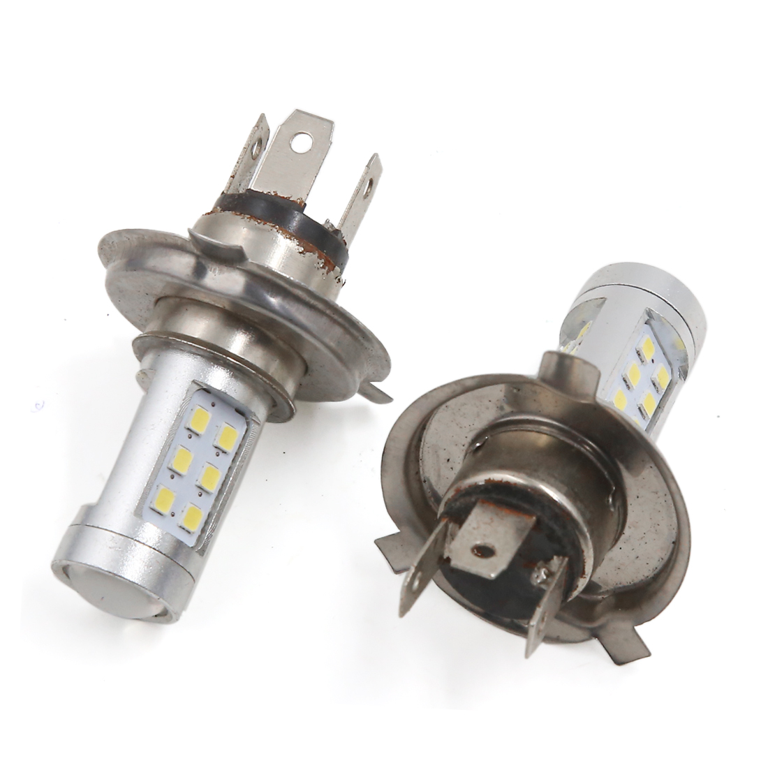 2 Pcs H4 1210 SMD 21 LED White Head Bulb Fog Light Lamp for Car Vehicle