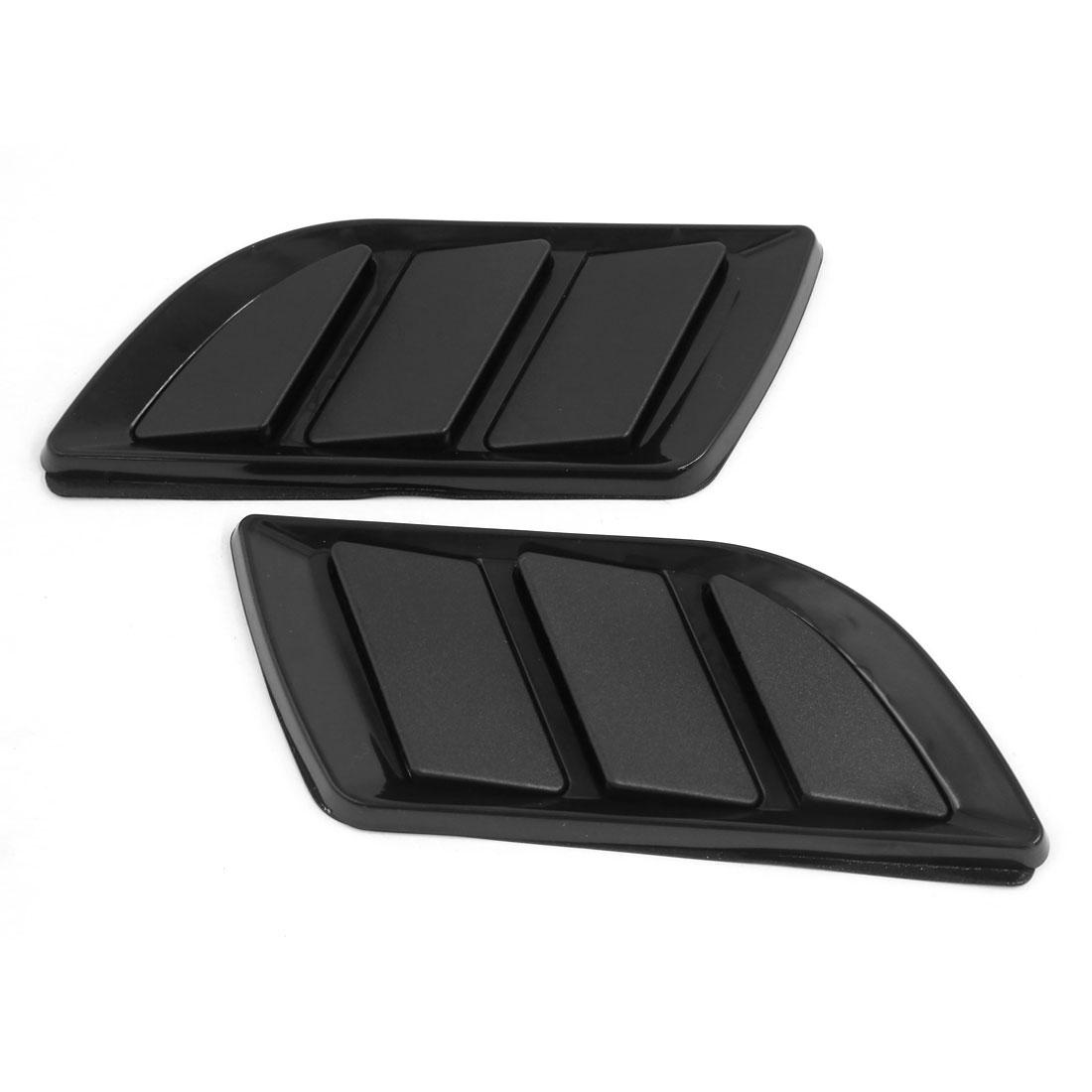 2Pcs Car Decorative Black Air Flow Intake Scoop Turbo Bonnet Vent Cover Hood