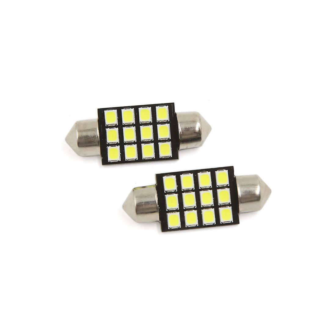2PCS Ultra White 36MM 2835 12SMD Festoon Dome Map Interior LED Light Bulb