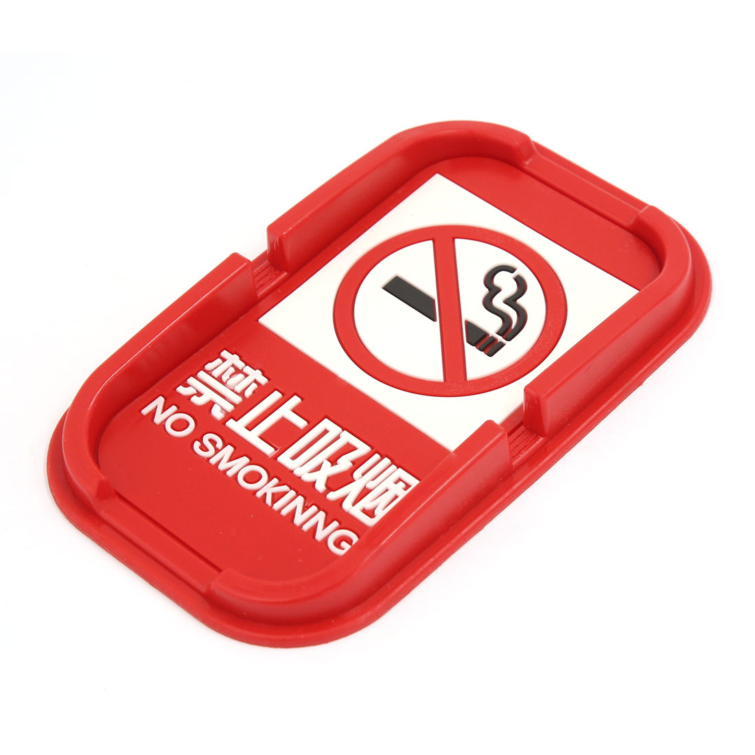 Automobile Red Rubber No Smoking Print in with Nonslip Mat Holder
