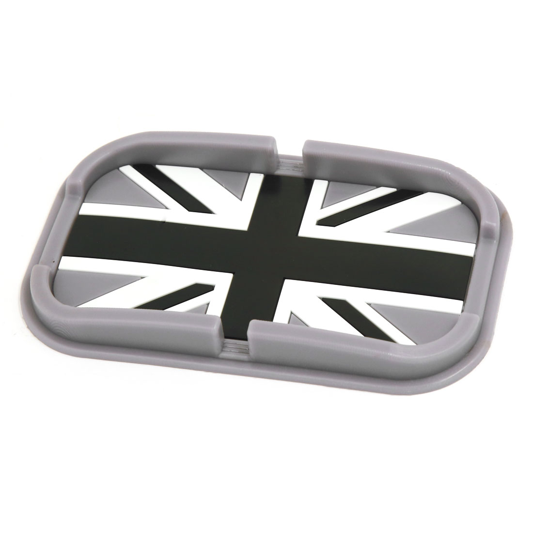Automobile Navigation Black Rubber British Flag Pattern Non-Slip Pad Mat Holder