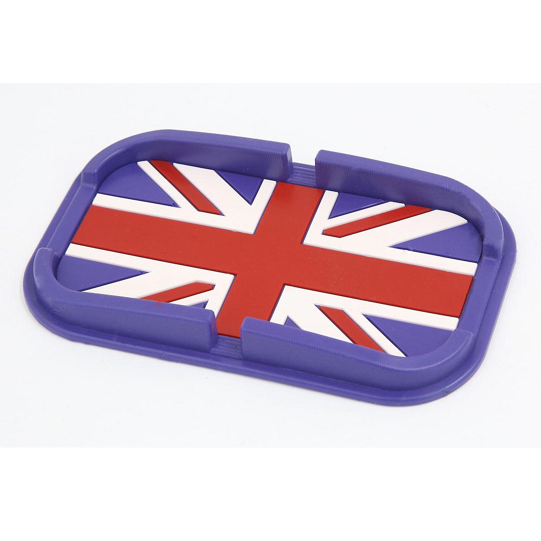 Automobile Navigation Purple Rubber British Flag Pattern Non-Slip Pad Mat Holder