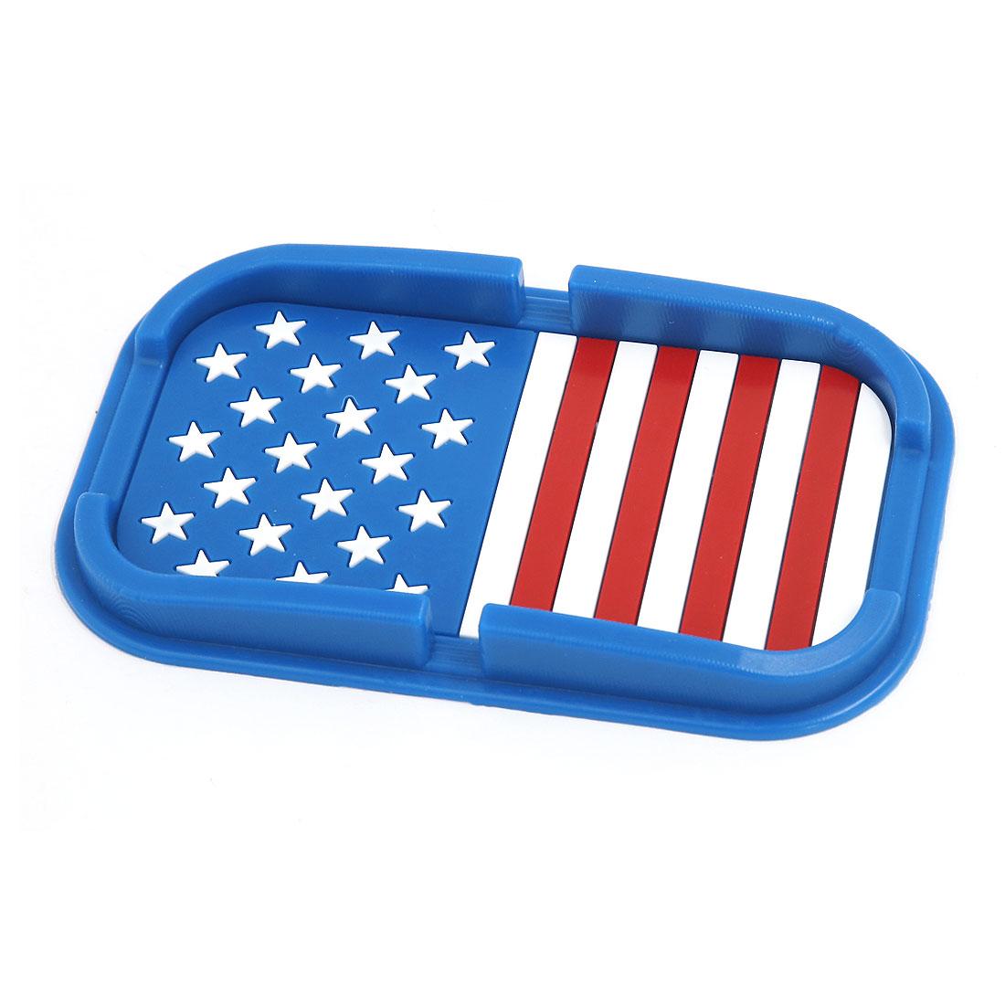Automobile Navigation Blue Rubber Star Stripe Pattern Non-Slip Pad Mat Holder