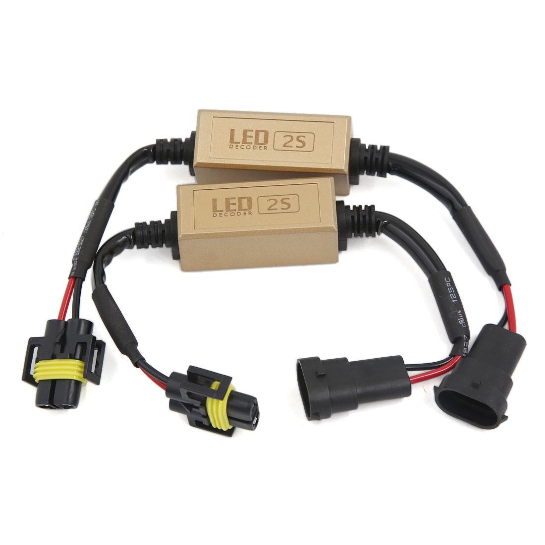 2 Pcs H11 LED Decoder Error Anti-Flicker Free Load Resistor Canceller for Cars