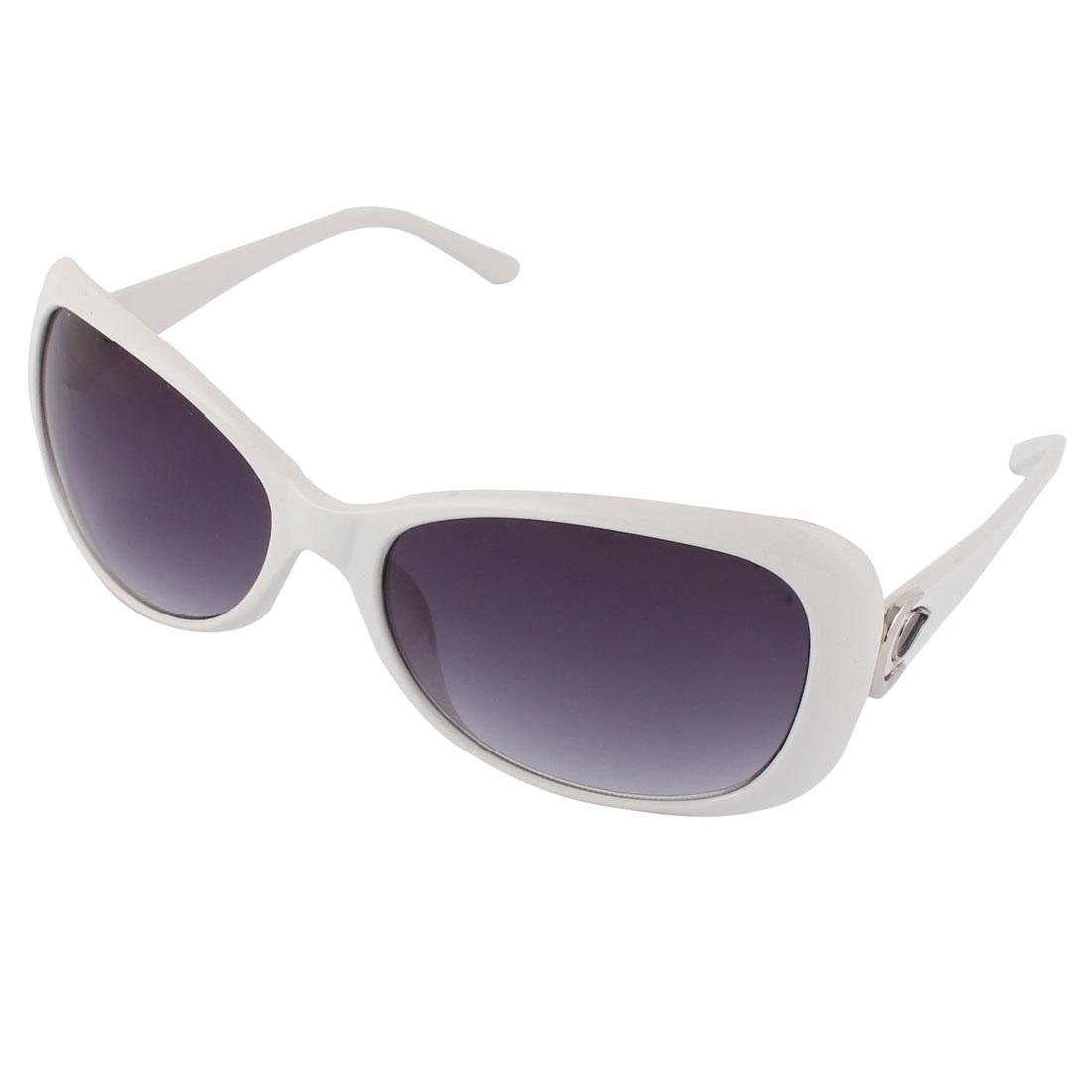 Fashionable Women Ladies Plastic Black Lens White Full Frame Sunglass