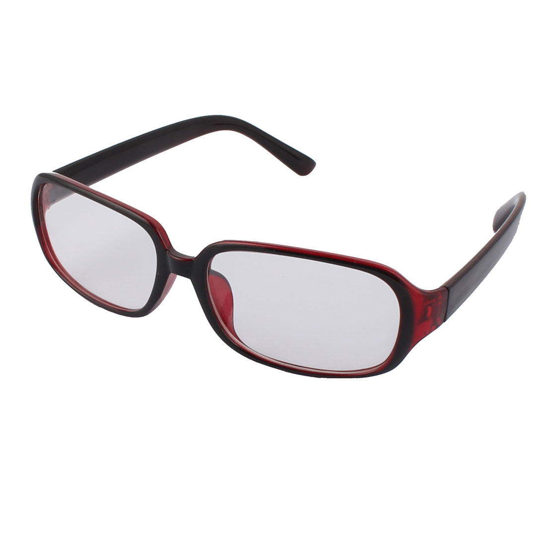 Stylish Clear Square Shaped Lens Light Black Red Frame Plastic Eyewear Plain Glass